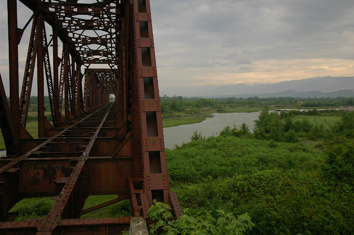 A defunct railroad truss bridge over the Inguri river, which forms the Georgia Abkhazia administrative. The railroad was cut during in 1993 during the Georgian-Abkhazian war. Photo credit, Ian F. Carver