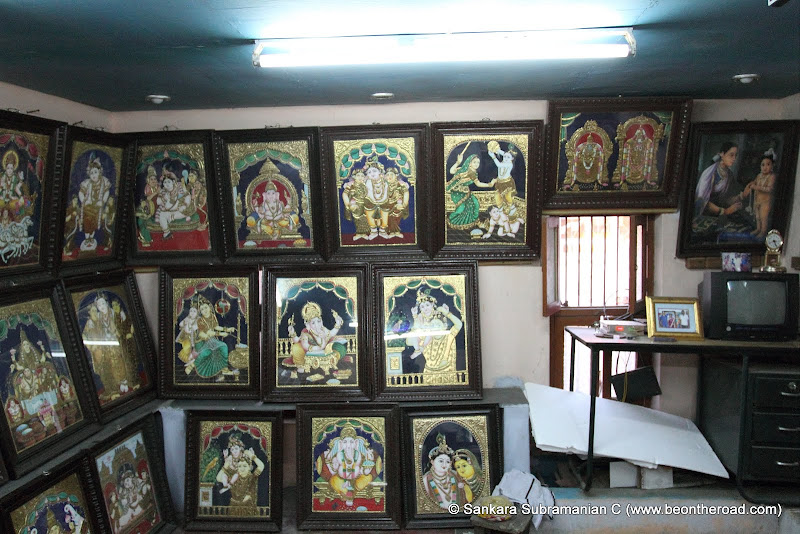 The famous Tanjore paintings in a local house at Tanjore