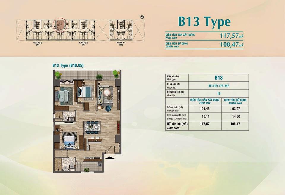 Căn hộ Scenic Valley Phú Mỹ Hưng, kiểu B13, 117.57m2 có thiết kế 3 phòng ngủ