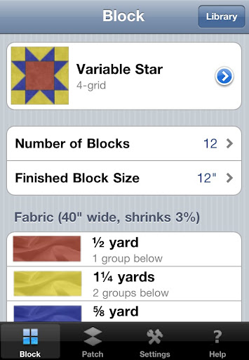 BlockFab calculates fabric needed for traditional quilt blocks