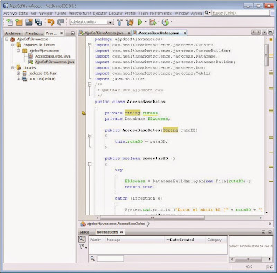 Crear clase Java con métodos de conexión a bd Access, búsqueda, inserciones, eliminaciones y consulta de registros