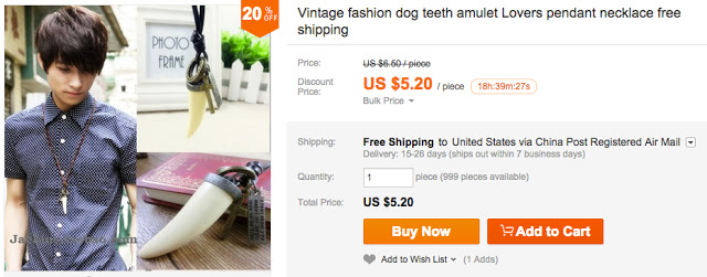 "AliExpress.com page selling ""Vintage fashion dog teeth amulet Lovers pendant necklace"""