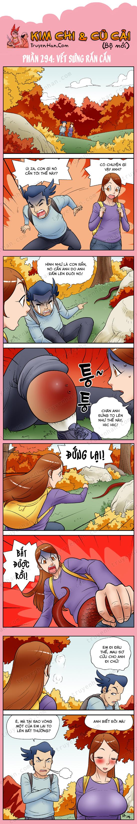 Kim Chi & Củ Cải (bộ mới) phần 294: Vết sưng rắn cắn