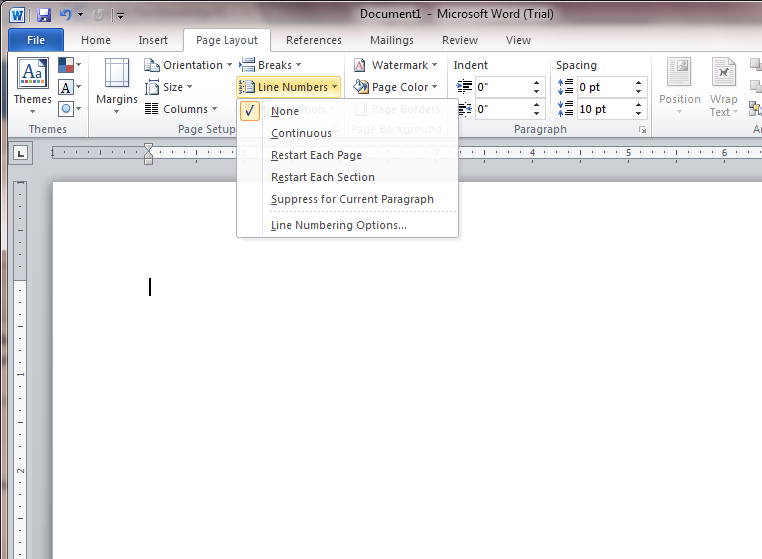 how to give page number in ms word