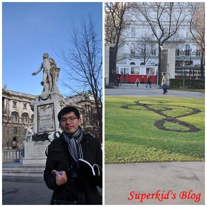我在奧地利維也納的莫札特雕像前