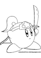 Kirby with Sword Coloring Page