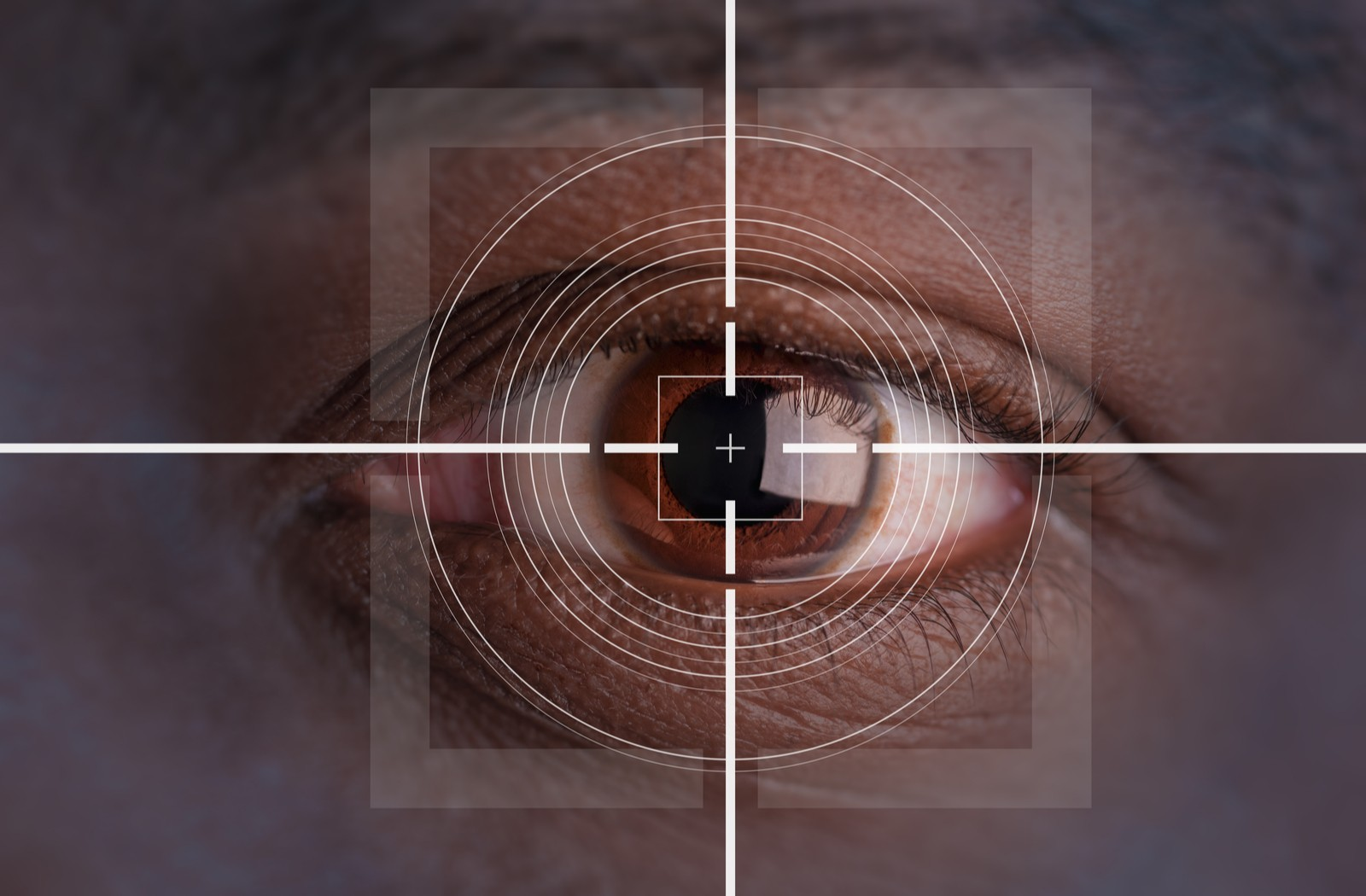 Close-up of one healthy human eye with a crosshair overlaid and targeted right at the center of the pupil.