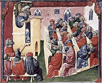 Laurentius de Voltolina. Henricus de Alemannia Lecturing his Students (1350s). From Liber ethicorum des Henricus de Alemannia