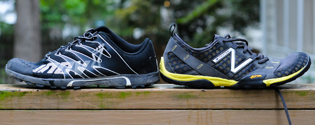 New Balance Minimus Trail and the Inov-8 f-lite 230 heel heights compared