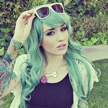 Cabelo colorido - azul esverdeado