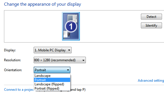 Windows display settings - orientation