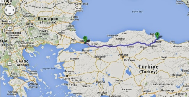 Caucasus 2014 25 July Leg 7 Return Samsun Turkey