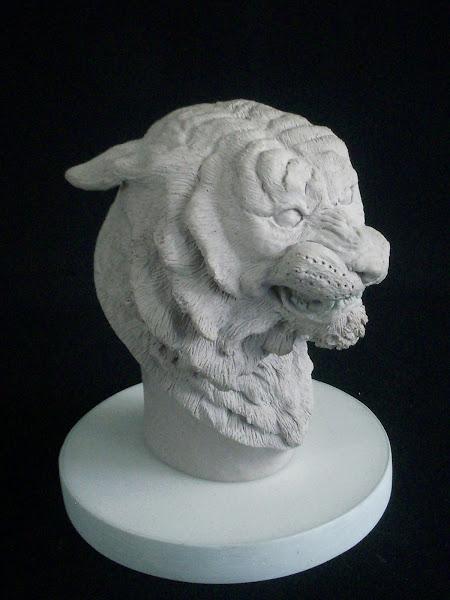 Escultura busto de tigre