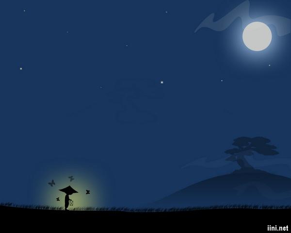 ảnh lẻ loi dưới ánh trăng