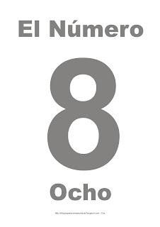 Lámina para imprimir el número ocho en color gris