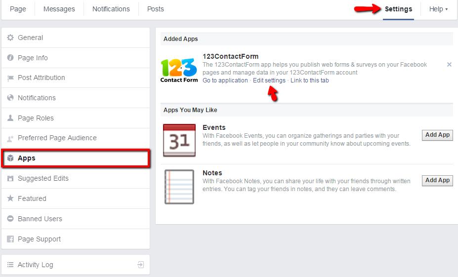 change facebook tab image