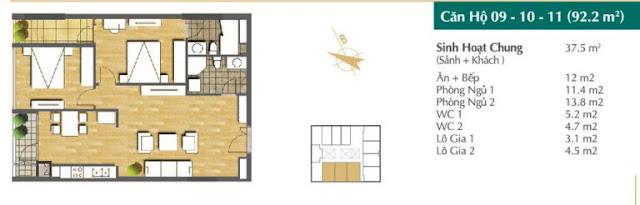 Thiết kế căn hộ 09-10-11 (92,2m2)