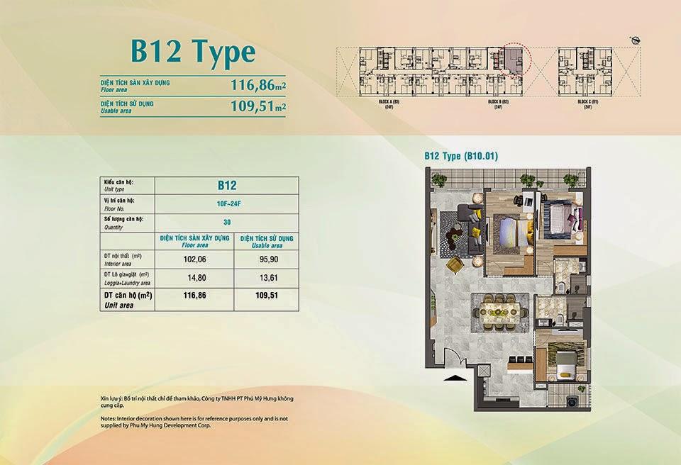 Căn hộ Scenic Valley Phú Mỹ Hưng, kiểu B12, 116.86m2 có thiết kế 3 phòng ngủ