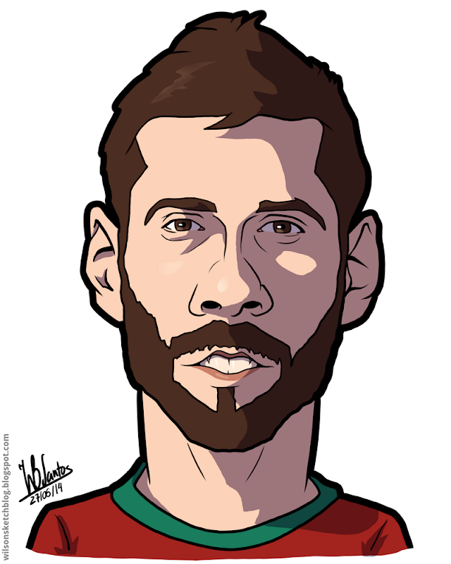 Cartoon caricature of Vieirinha.