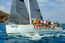 J/95 shoal-draft sailboat- SHAMROCK VII- sailing BVI Spring Regatta