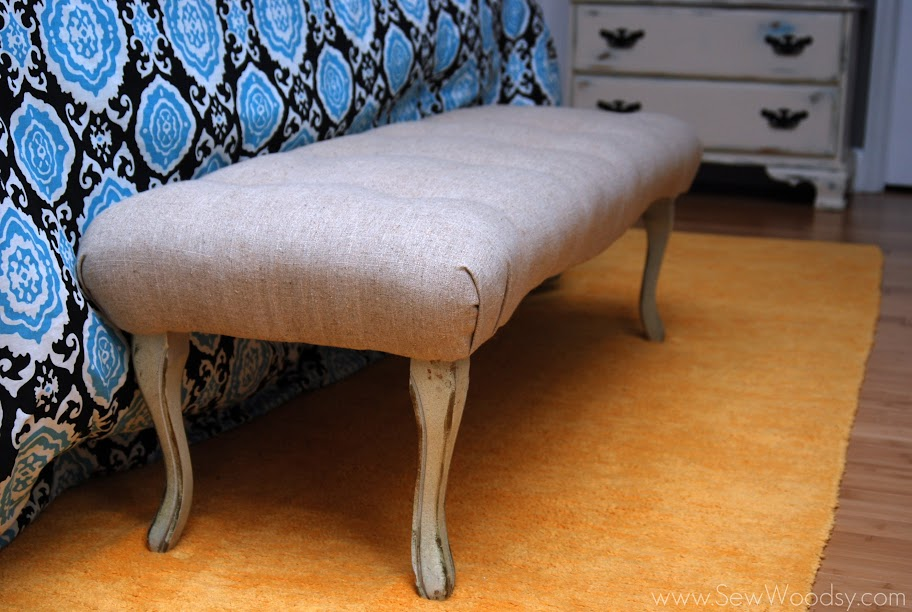 reupholstered tufted bench