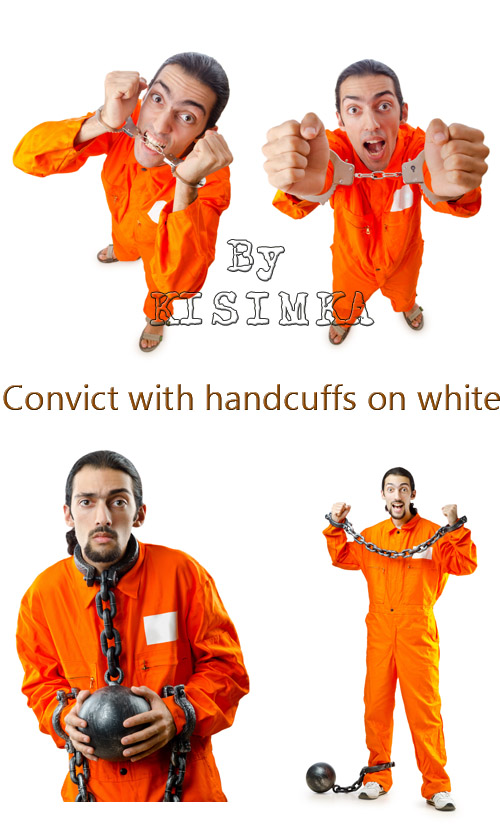 Stock Photo: Convict with handcuffs on white