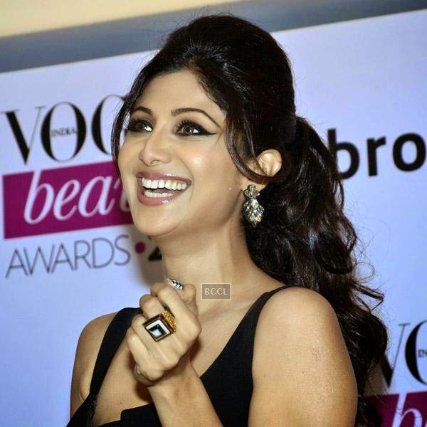 Shilpa Shetty is all smiles during Vogue Beauty Awards 2014, held at Hotel Taj Lands End in Mumbai, on July 22, 2014.(Pic: Viral Bhayani)