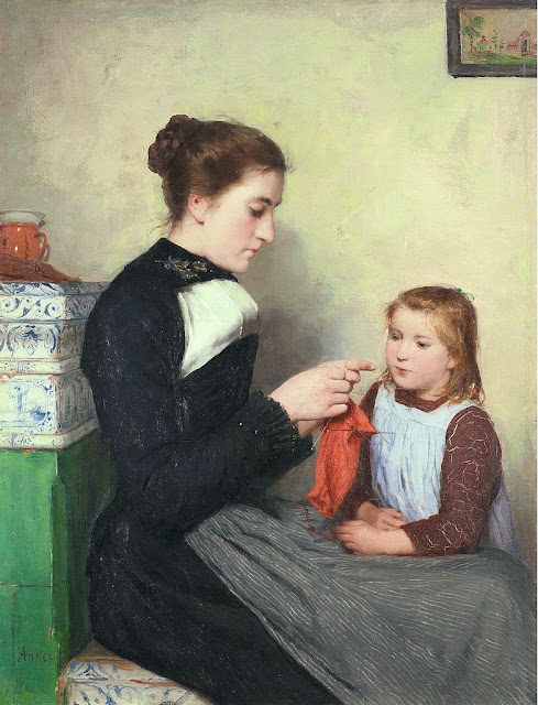 Albert Anker - Knitting Bernese woman with child