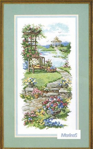 Garden Gazebo cross stitch patterncross stitch pattern
