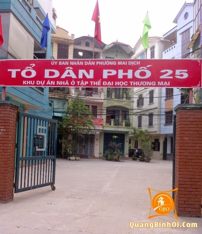 Quảng Bình Ơi nằm thẳng với cổng vào tổ 25 khu tập thể ĐH Thương Mại