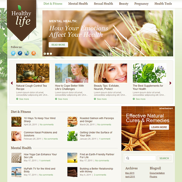 Healthy Life Green WordPress Theme