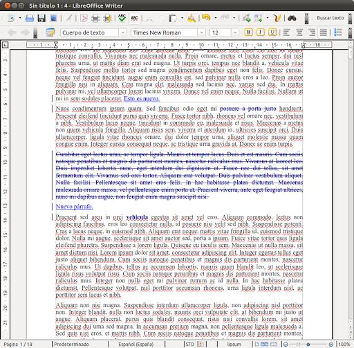 Control de cambios en LibreOffice