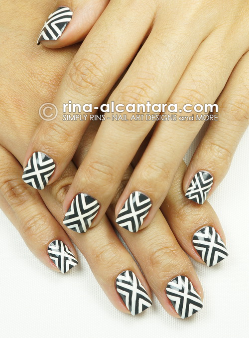 Crossed Out Nail Art Design