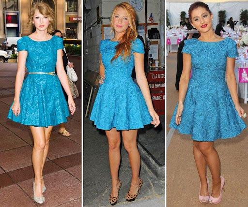 Famosas con vestido azul