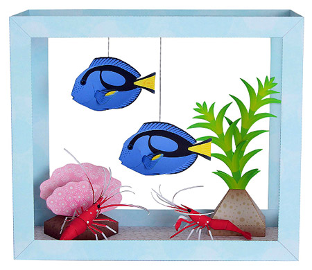 Aquarium Papercraft Blue Tang Fire Shrimp
