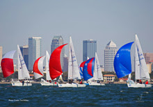 J/24 sailboats-  sailing Bacardi Cup off Miami, Florida