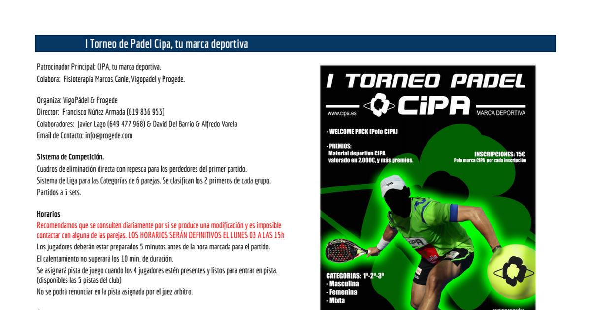 I Torneo Cipa 2017 (Cuadros de Competición) - Google Sheets