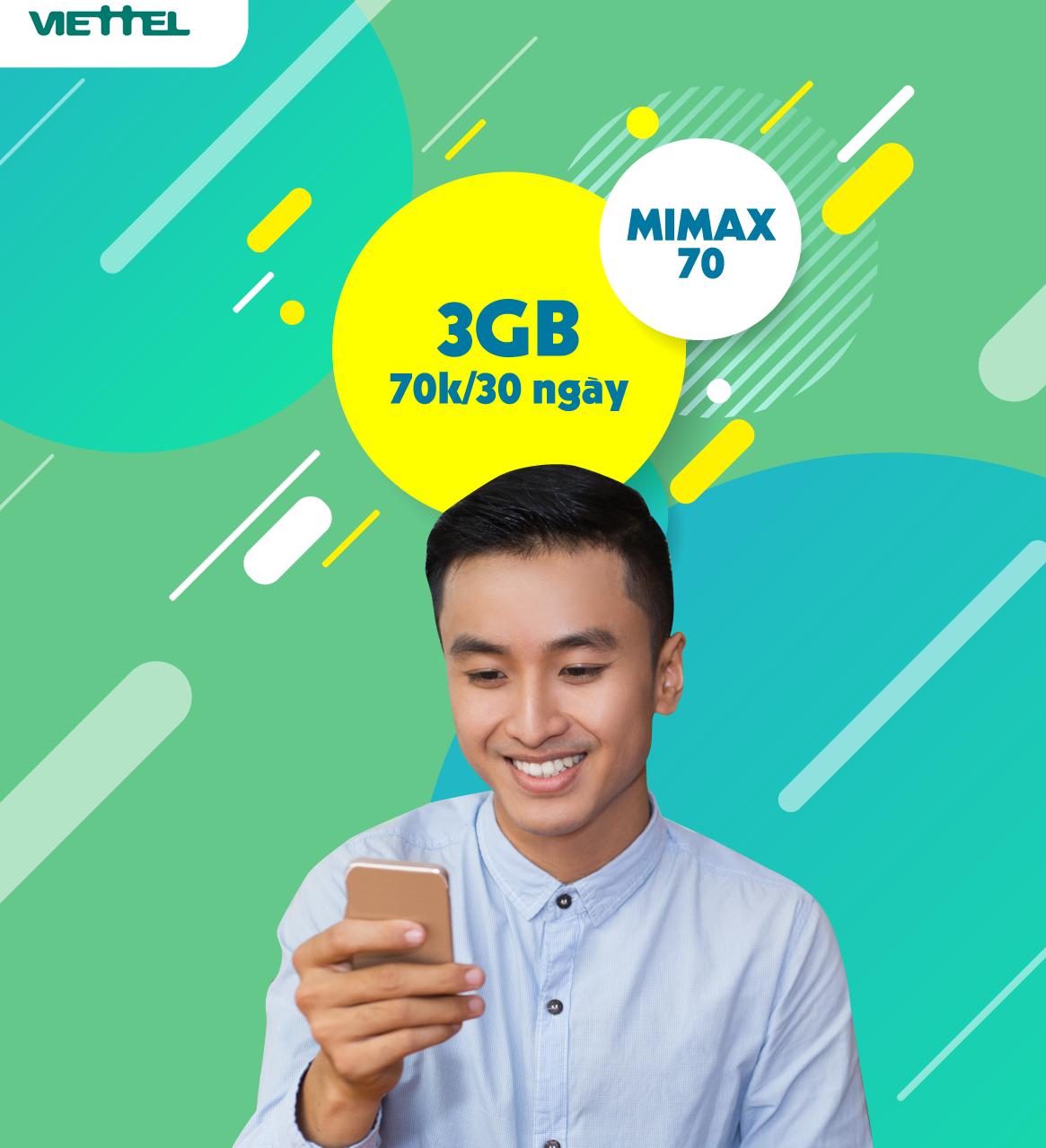 Miễn phí Data cả tháng Gói Mimax70 Viettel