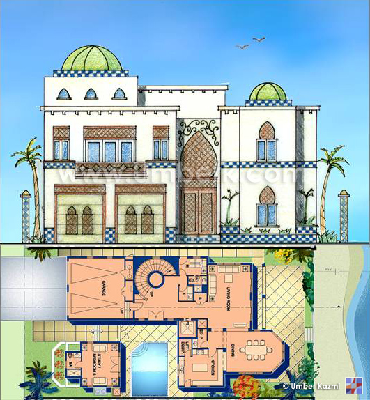 Moroccan house dubai pencil on trace photoshop for Moroccan house design