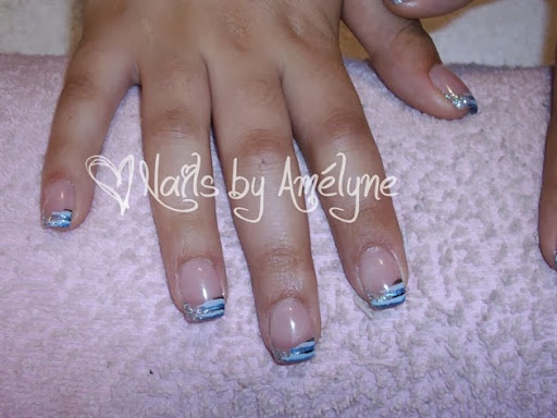 Silver Glitter French  Lines Zoom