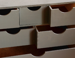 Painted cabinet drawers