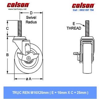 Bảng vẽ kích thước trục ren bánh xe PU bánh đôi CPT chịu tải trọng (80~100kg) :