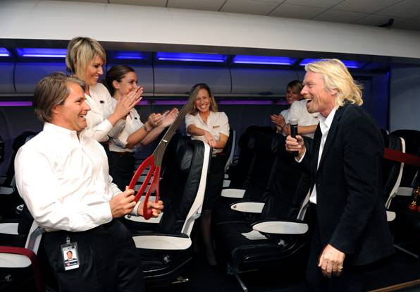 Company founder Richard Branson:  A sense of humor and a goal of customer service