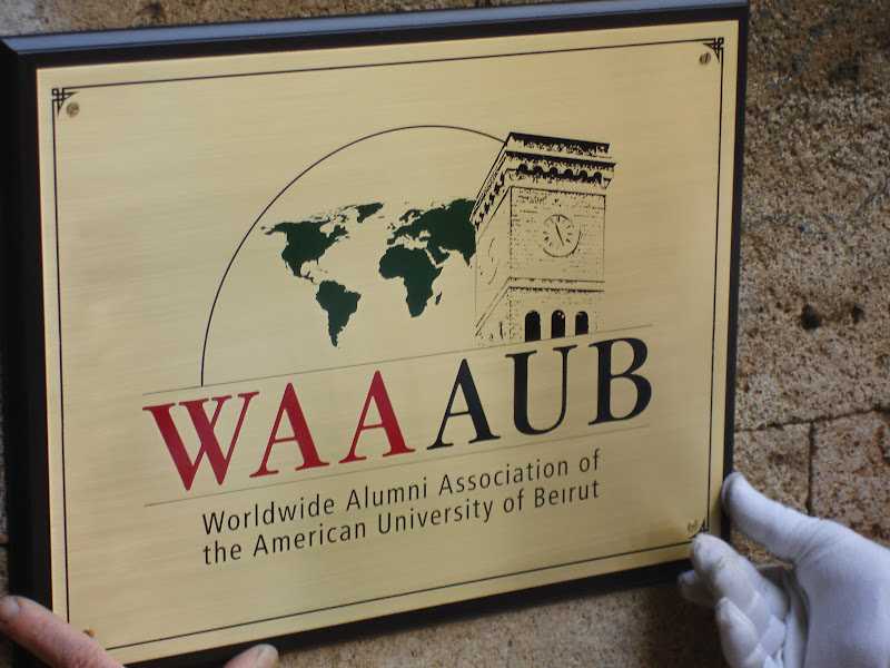 WAAAUB Office sign plate engraved on brass sheet and color-filled