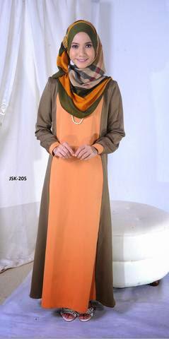 Jubah Online Murah Muslimah Fesyen Terkini 2014 Oren Hijau