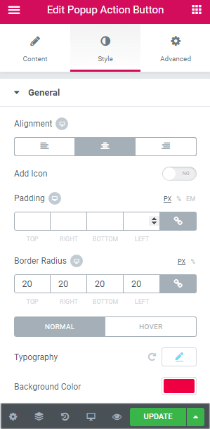 style popup action button