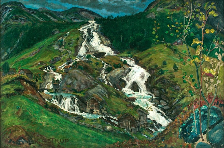 Nikolai Astrup - Waterfall and Millhouses, 1923