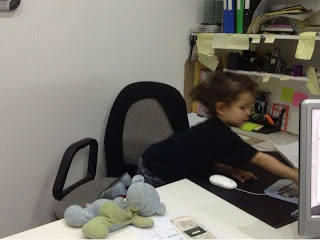 toddler in the photographer's office