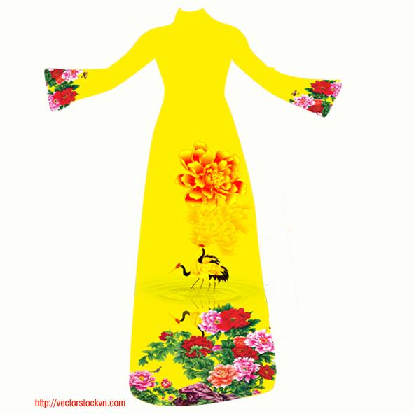 áo dài việt nam hoa văn đẹp