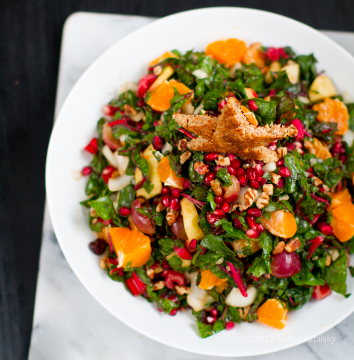 i had no intentions of making this raw chard ribbon salad a christmas tree salad it was just going to be a holiday salad until i piled it into my bowl
